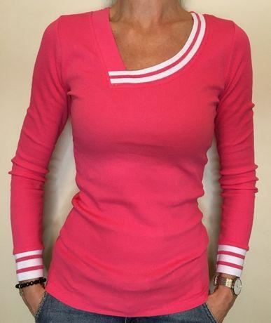 Bluzka prążkowana, różowa, rozm. uniwersalny