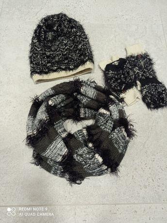 Czapka rękawiczki H&M i komin włochate czarne