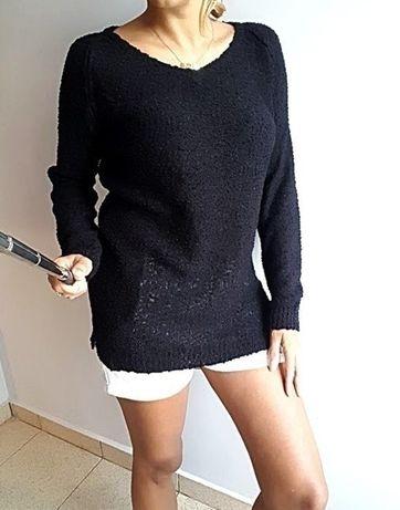 Sinsay czarny nowy sweter z supełkami