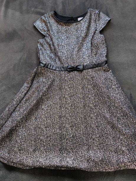 Sukienka elegancka galowa Smyk Cool Club r.140 srebrna ubrana raz