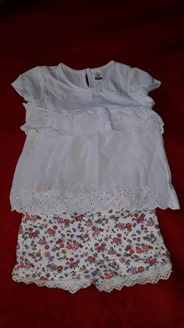 Детский летний комплект для девочки, футболка, блуза, шорты
