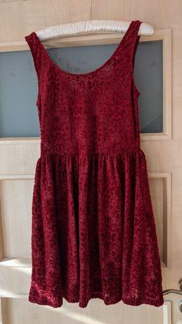 Bordowa sukienka faktura aksamit na święta 38 Miss Selfridge