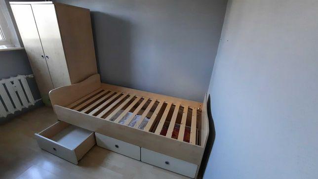Zestaw mebli dziecięcych łóżko szafa 2 regały 2 komody dąb sonoma