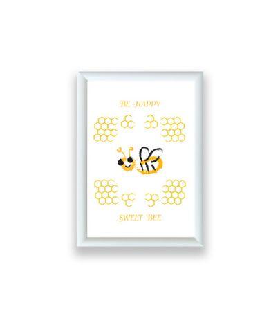 maly obraz z pszczołą, dekoracja z przczółką, pszczółka grafika w ramc