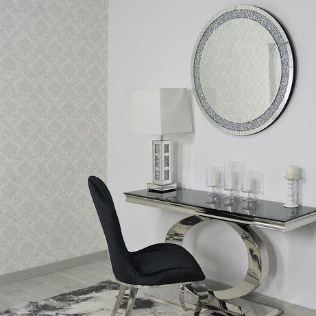 Srebrne lustro glamour wiszące okrągłe śr. 90 cm M-0506