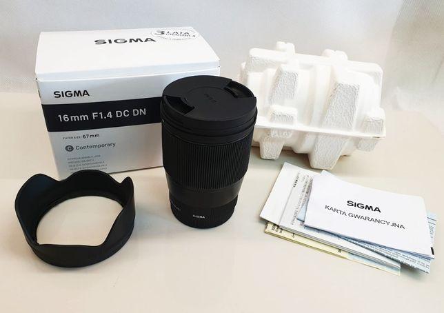 Obiektyw Sigma C 16 mm f/1.4 DC DN mocowanie Sony E jak NOWY Gwarancja