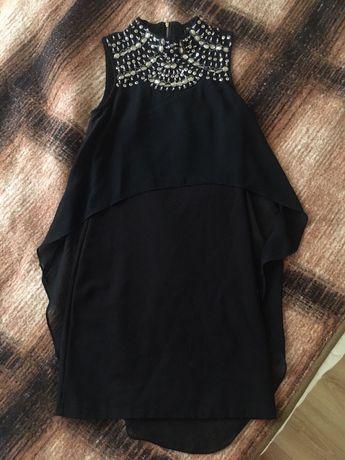 Платье вечернее с шифоновым шлейфом, бисером и пайетками, размер S