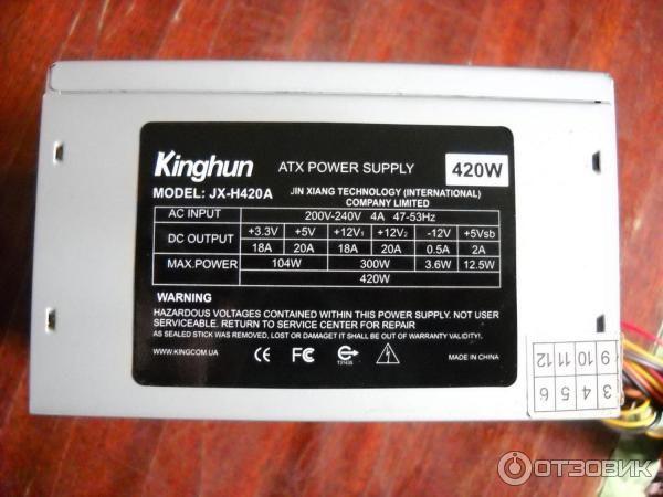 Блок питания Kinghun JX-H420A 420W