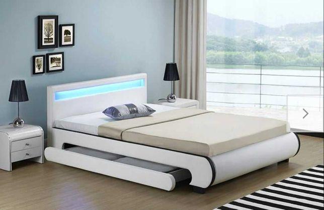 Łóżko sypialniane tapicerowane z LED