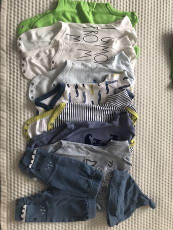 Zestaw dla chłopca 0-3m 8szt body krótki rękaw+spodnie+czapeczka