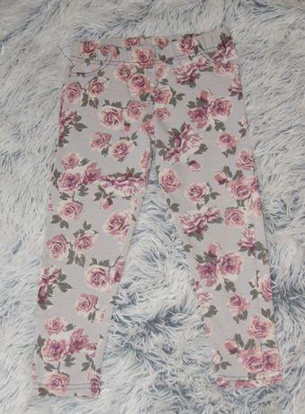 Spodnie materiałowe rurki róże r. 104 cm