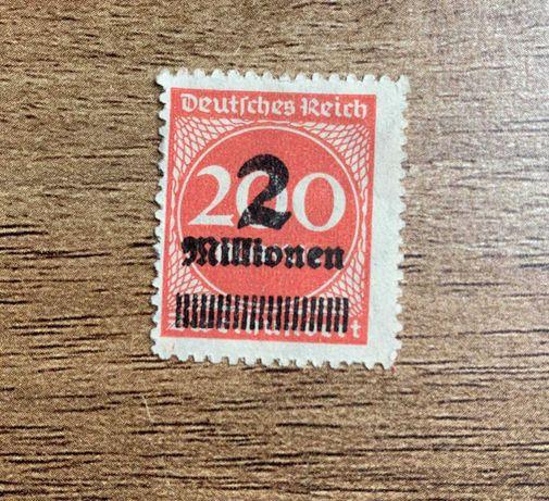 Znaczek pocztowy Weimar Republic German Empire 1923 2mill on 200 mark