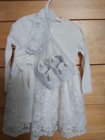 Komplet do chrztu, zestaw, sukienka abrakadabra 80