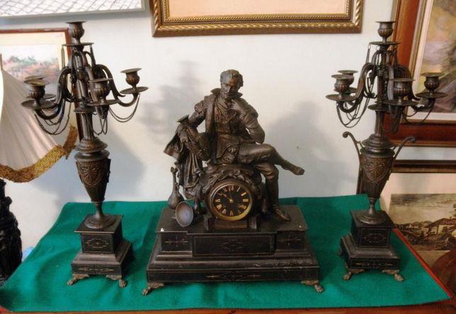 Garniture Francesa Mármore Negro Bronze