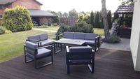 MEBLE stalowe na ogród + poduszki ogrodowe ZESTAW cynkowany na taras
