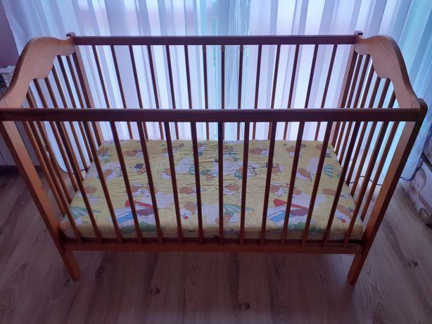 Łóżeczko drewniane 120×60 z materacem
