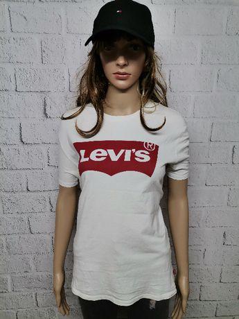 Koszulka LEVI'S damska biała czerwona bluzka t-shirt NOWY MODEL L !