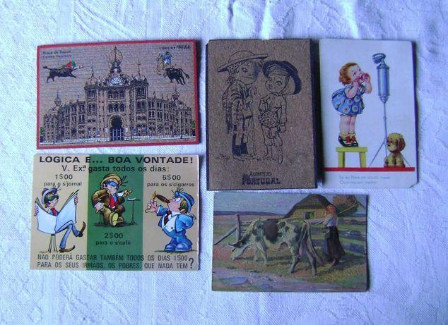 5 postais antigos - cortiça, alto relevo ...