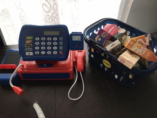 Kasa elektroniczna tesco karta plus koszyk lidl z towarem