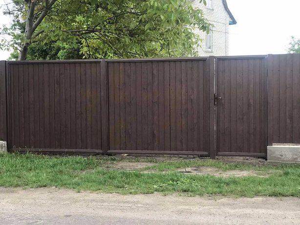 Ворота распашные заборы из профнастила калитки ворота
