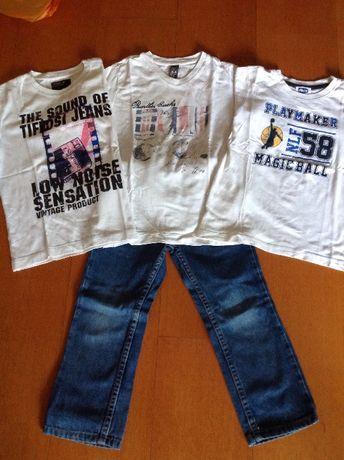 calças e t-shirts de menino 4 anos Chicco, Tiffosi e Zara
