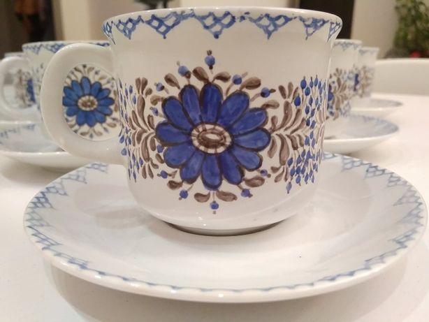 Komplet 6 filiżanek ceramicznych z talerzykami handmade - kwiaty