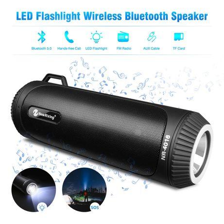 Портативная Bluetooth колонка New Rixing NR4016 с LED фонарём. 990руб