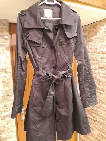 Piękny czarny płaszcz trencz przejściowy wiosna jesień Ravel 36 S
