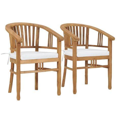 Krzesła ogrodowe z poduszkami, 2 szt., lite drewno tekowe NOWE