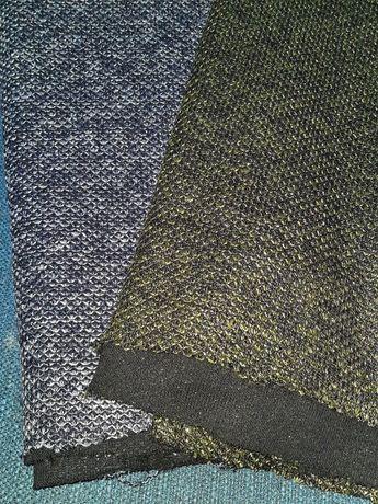 Dzianina sweterkowa z lurexem zielony, granat kupon materiału 0.8mb