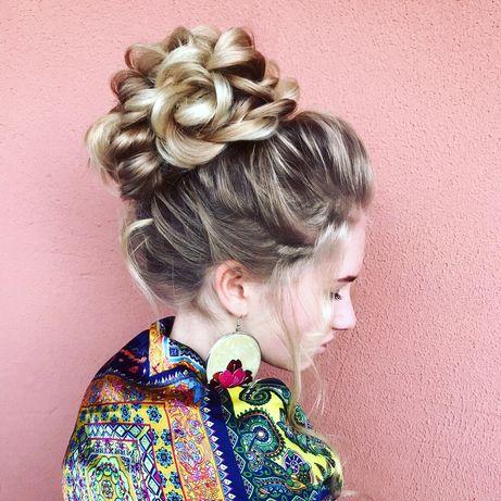 Выпускные,свадебные причёски,укладки,плетение кос