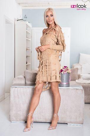 Sukienka beżowa zamszowa