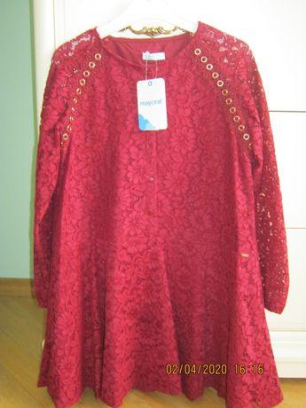 Mayoral осень-зима ажурный гипюр платье р.140