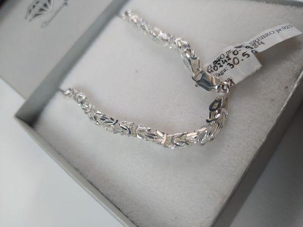 Nowy srebrny łańcuszek męski splot królewski