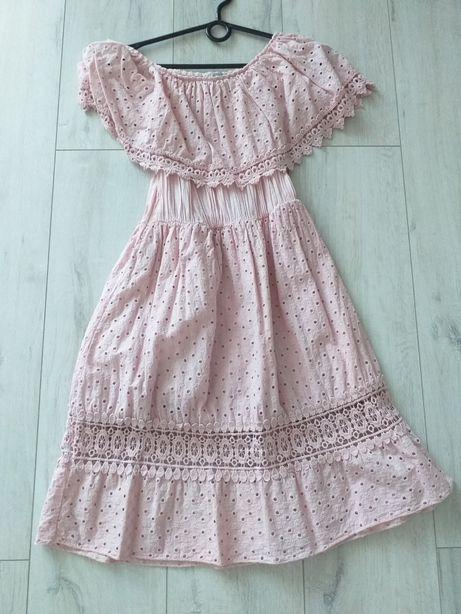 Sukienka ażurowa różowa 36