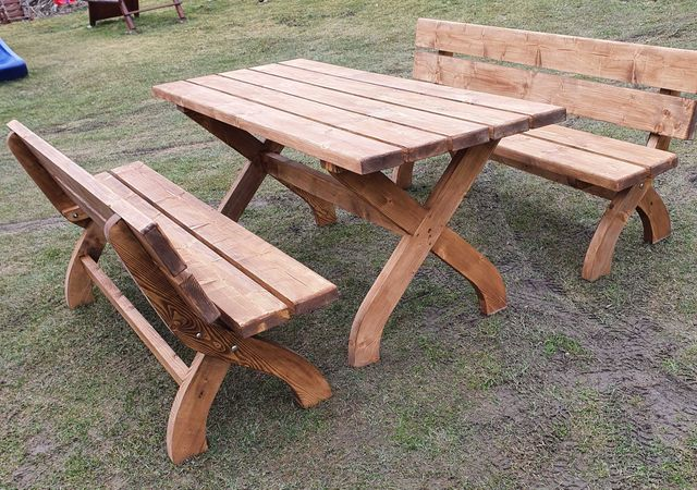 Meble ogrodowe drewniane zestaw. Stół, ławki. 180-200cm. Transport