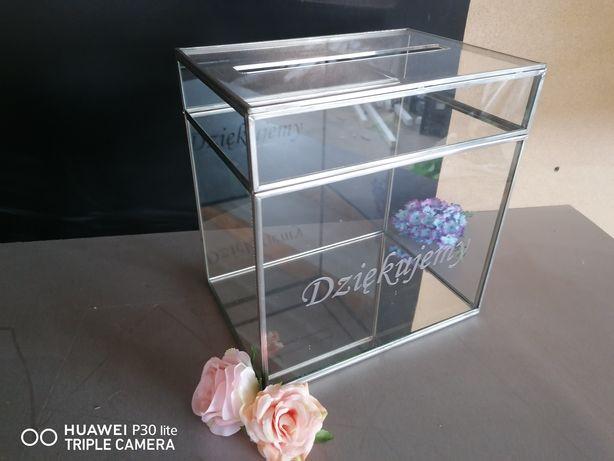 Pudełko szklane srebrne przezroczyste szklane glamour