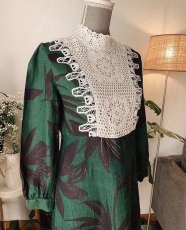 Magnifico vestido floral com frente em crochet [NOVO]