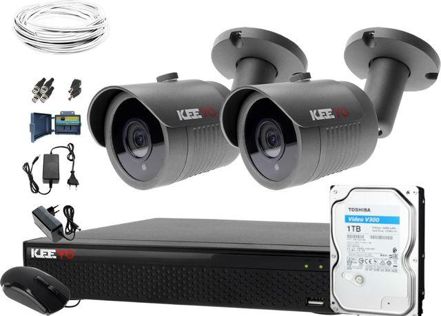 Zestaw do monitoringu: Rejestrator 4 kan + Kamera 2x FullHD+ dysk 1TB
