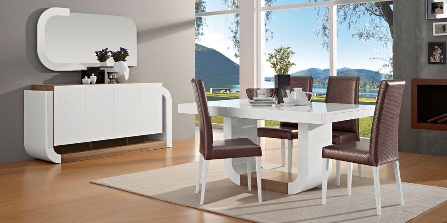 Sala de Jantar em Nogueira e Branca Lacada Completa Nova (fabricantes)