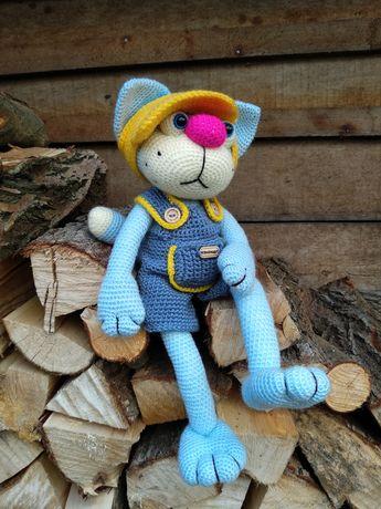 Котик вязаный, в'язана іграшка, игрушка ручной работы
