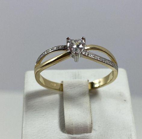 NOWY piękny złoty pierścionek 2,02g / 585 / r. 16, r. 19