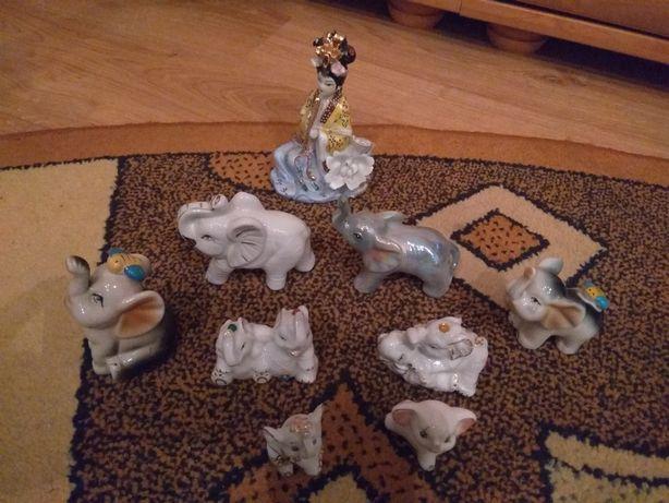 Figurki ozdobne porcelanowe słonie + Gejsza
