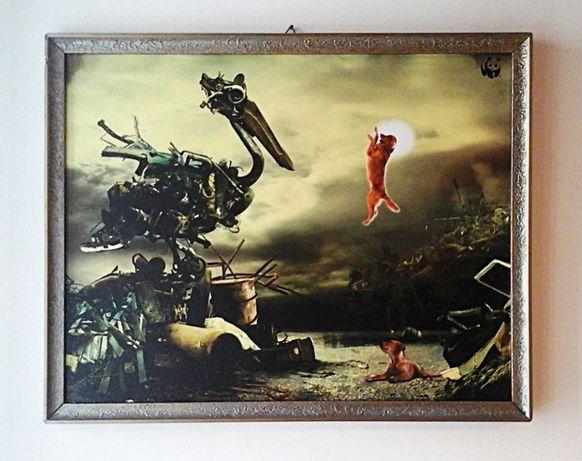 Obraz w ramie, kolaż graficzny - Pies technokrata idzie do nieba *