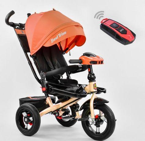 Велосипед коляска трёхколёсный детский, с родительской ручкой, поворот