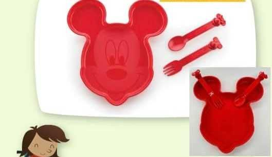 Tupperware Prato Mickey com talheres