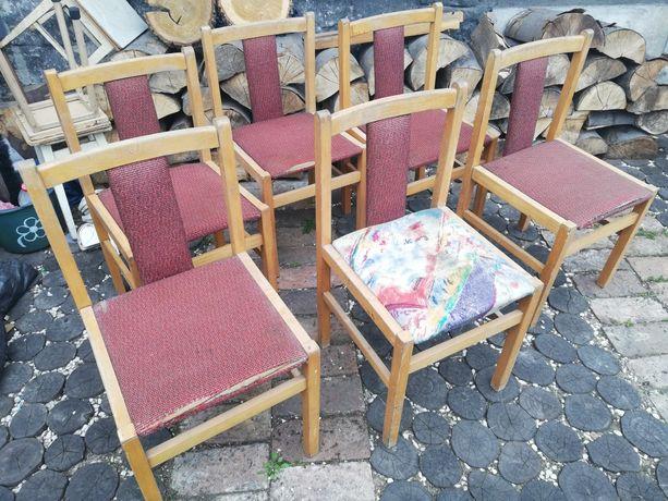 Krzesła tapicerowane typ 85 Jasienica, vintage PRL