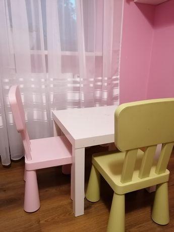 Stolik lack krzesła Ikea mamut 2szt