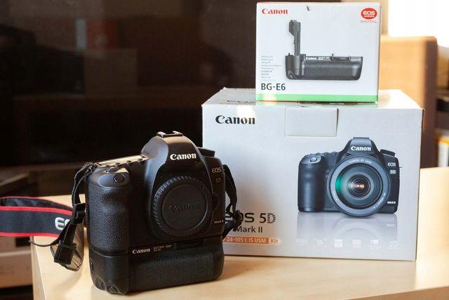 Canon EOS 5D Mark II (przebieg ok. 60 tys.) + grip Canon BG-E6
