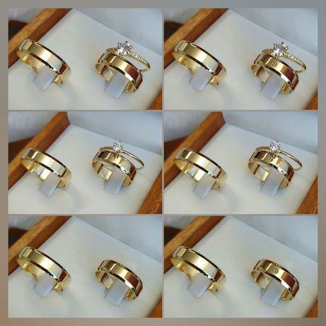 Pełne Elegancji Komplety Złotych Obrączek Ślubnych